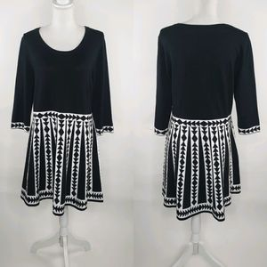 Nina Leonard Fit & Flare Geometric Sweater Dress